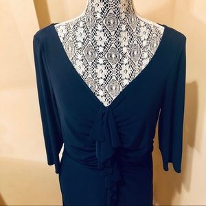 MIKAEL AGHAL RUFFLE FRONT NAVY BLUE DRESS